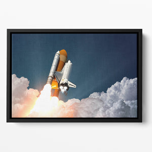 Realistic 3d Scene Of Space Shuttle Floating Framed Canvas