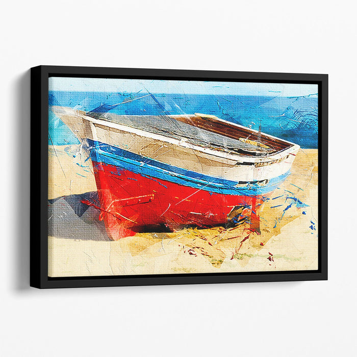 Red Boat Floating Framed Canvas