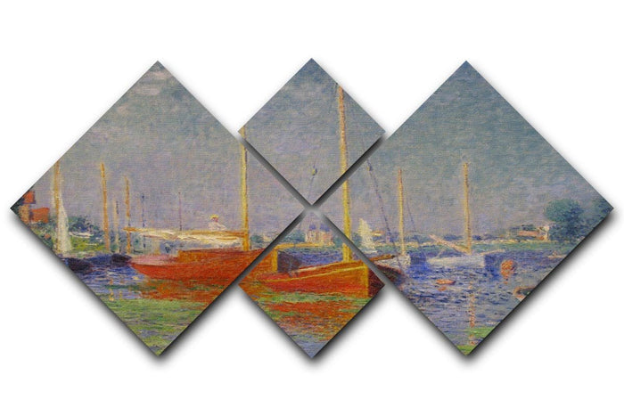 Red Boats at Argenteuil by Monet 4 Square Multi Panel Canvas