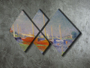 Red Boats at Argenteuil by Monet 4 Square Multi Panel Canvas - Canvas Art Rocks - 2