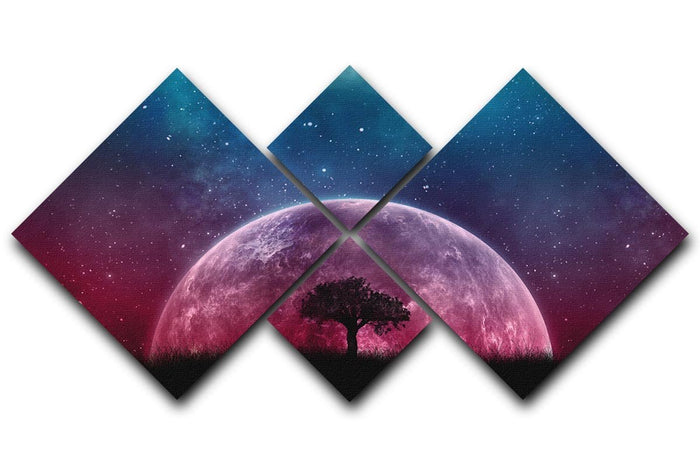 Red Moon 4 Square Multi Panel Canvas