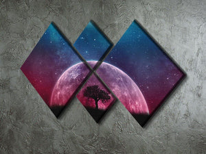 Red Moon 4 Square Multi Panel Canvas - Canvas Art Rocks - 2