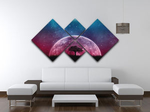 Red Moon 4 Square Multi Panel Canvas - Canvas Art Rocks - 3