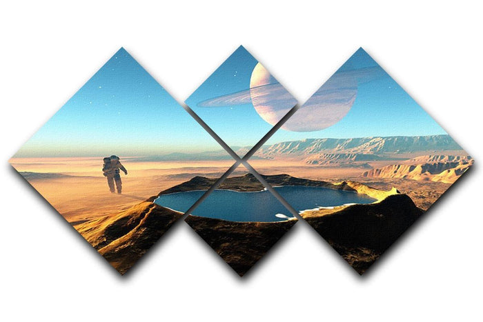 Red Planet Mars Space Walk 4 Square Multi Panel Canvas
