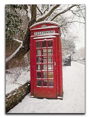 Red Telephone Box in the Snow Canvas Print or Poster - Canvas Art Rocks - 1