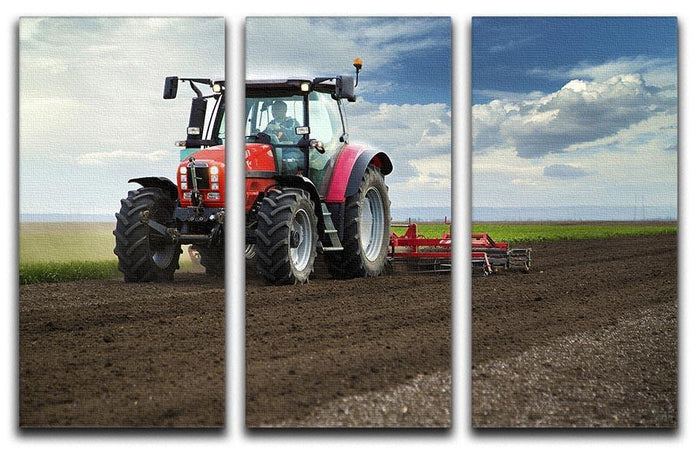Red Tractor 3 Split Panel Canvas Print