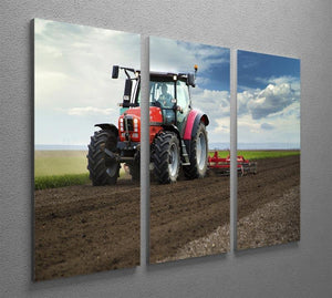 Red Tractor 3 Split Panel Canvas Print - Canvas Art Rocks - 2