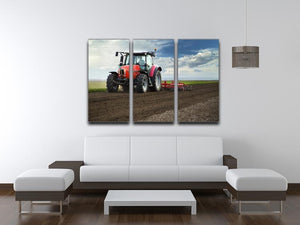 Red Tractor 3 Split Panel Canvas Print - Canvas Art Rocks - 3
