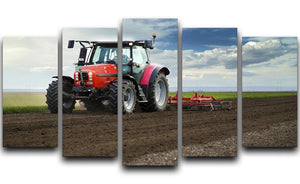Red Tractor 5 Split Panel Canvas  - Canvas Art Rocks - 1
