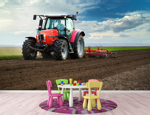 Red Tractor Wall Mural Wallpaper - Canvas Art Rocks - 3