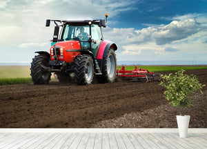 Red Tractor Wall Mural Wallpaper - Canvas Art Rocks - 4