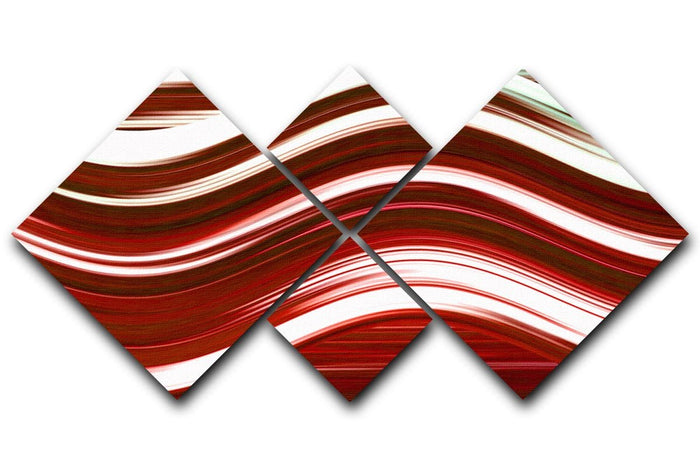 Red Wave 4 Square Multi Panel Canvas