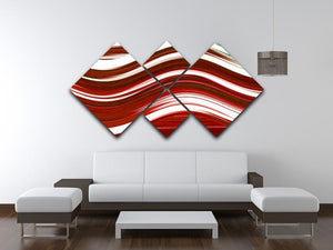 Red Wave 4 Square Multi Panel Canvas - Canvas Art Rocks - 3