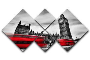 Red buses in motion and Big Ben 4 Square Multi Panel Canvas  - Canvas Art Rocks - 1