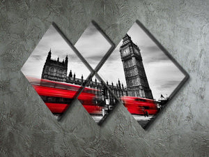 Red buses in motion and Big Ben 4 Square Multi Panel Canvas  - Canvas Art Rocks - 2