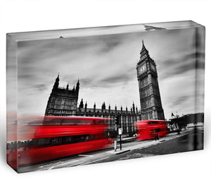 Red buses in motion and Big Ben Acrylic Block - Canvas Art Rocks - 1