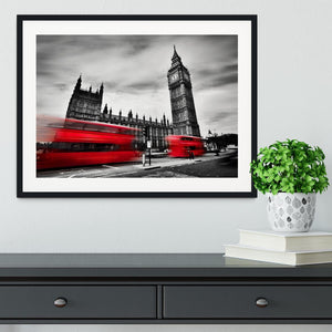 Red buses in motion and Big Ben Framed Print - Canvas Art Rocks - 1