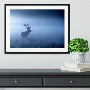 Red deer stag silhouette Framed Print - Canvas Art Rocks - 1