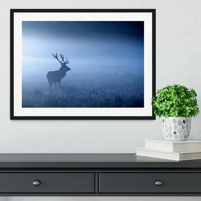 Red deer stag silhouette Framed Print