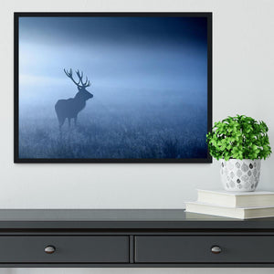 Red deer stag silhouette Framed Print - Canvas Art Rocks - 2