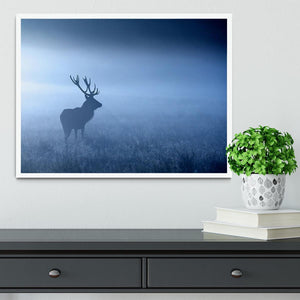 Red deer stag silhouette Framed Print - Canvas Art Rocks -6