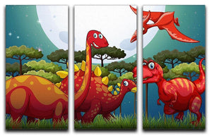 Red dinosuars under full moon 3 Split Panel Canvas Print - Canvas Art Rocks - 1