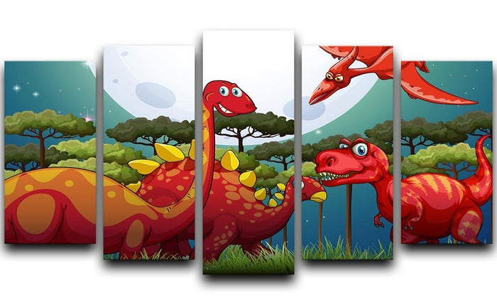 Red dinosuars under full moon 5 Split Panel Canvas