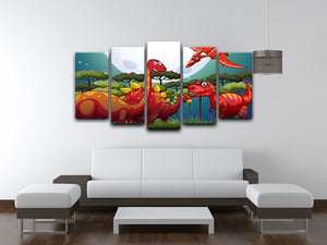 Red dinosuars under full moon 5 Split Panel Canvas - Canvas Art Rocks - 3