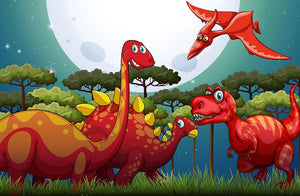 Red dinosuars under full moon Wall Mural Wallpaper - Canvas Art Rocks - 1
