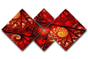 Red fiery glowing spiral 4 Square Multi Panel Canvas  - Canvas Art Rocks - 1