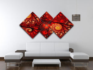 Red fiery glowing spiral 4 Square Multi Panel Canvas  - Canvas Art Rocks - 3