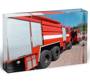 Red fire engine standing on the road Acrylic Block - Canvas Art Rocks - 1