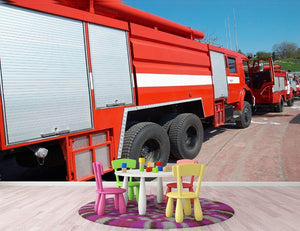 Red fire engine standing on the road Wall Mural Wallpaper - Canvas Art Rocks - 3
