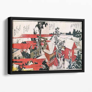 Red houses by Hokusai Floating Framed Canvas