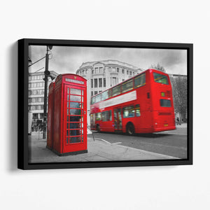 Red phone booth and red bus Floating Framed Canvas