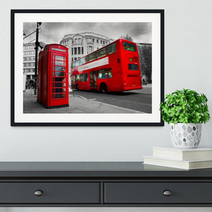 Red phone booth and red bus Framed Print - Canvas Art Rocks - 1