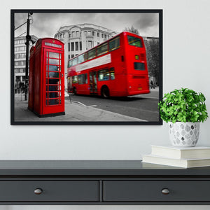 Red phone booth and red bus Framed Print - Canvas Art Rocks - 2