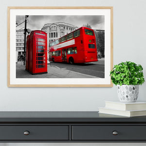 Red phone booth and red bus Framed Print - Canvas Art Rocks - 3
