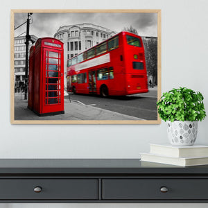 Red phone booth and red bus Framed Print - Canvas Art Rocks - 4