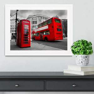 Red phone booth and red bus Framed Print - Canvas Art Rocks - 5