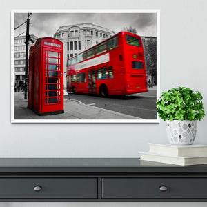 Red phone booth and red bus Framed Print - Canvas Art Rocks -6