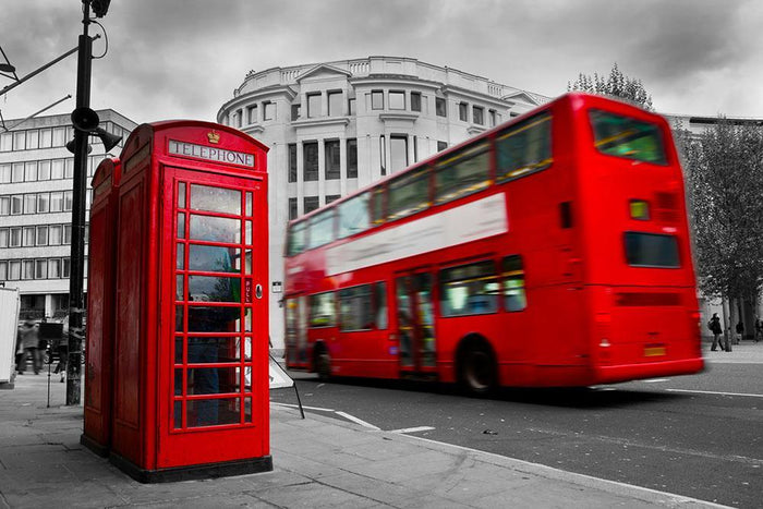 Red phone booth and red bus Wall Mural Wallpaper
