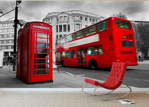 Red phone booth and red bus Wall Mural Wallpaper - Canvas Art Rocks - 2