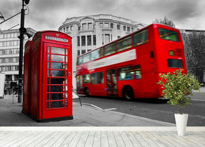 Red phone booth and red bus Wall Mural Wallpaper - Canvas Art Rocks - 4