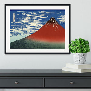 Red southern wind on Fiji on a clear morning by Hokusai Framed Print - Canvas Art Rocks - 1