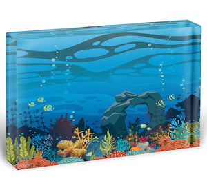 Reef with fish and stone arch Acrylic Block - Canvas Art Rocks - 1