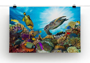 Reef with many fishes and sea turtle Canvas Print or Poster - Canvas Art Rocks - 2