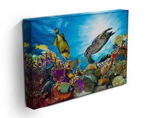 Reef with many fishes and sea turtle Canvas Print or Poster - Canvas Art Rocks - 3