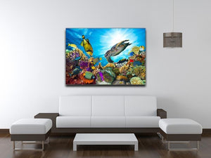 Reef with many fishes and sea turtle Canvas Print or Poster - Canvas Art Rocks - 4
