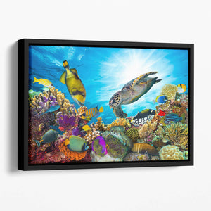 Reef with many fishes and sea turtle Floating Framed Canvas